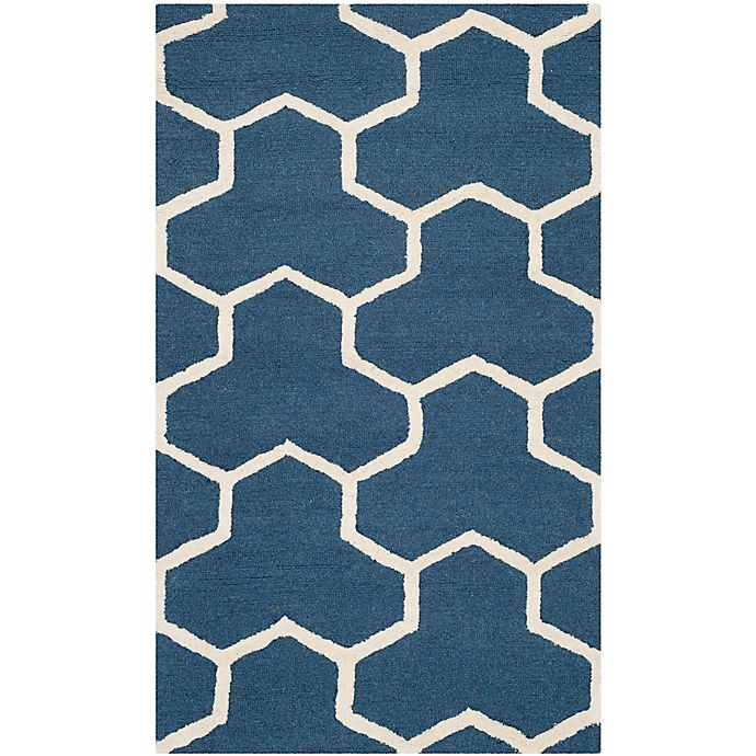 Alternate image 1 for Safavieh Cambridge 3-Foot x 5-Foot Lia Wool Rug in Navy Blue/Ivory