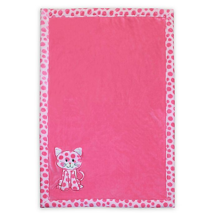 Baby S First By Nemcor Plush Cat Blanket In Pink Bed