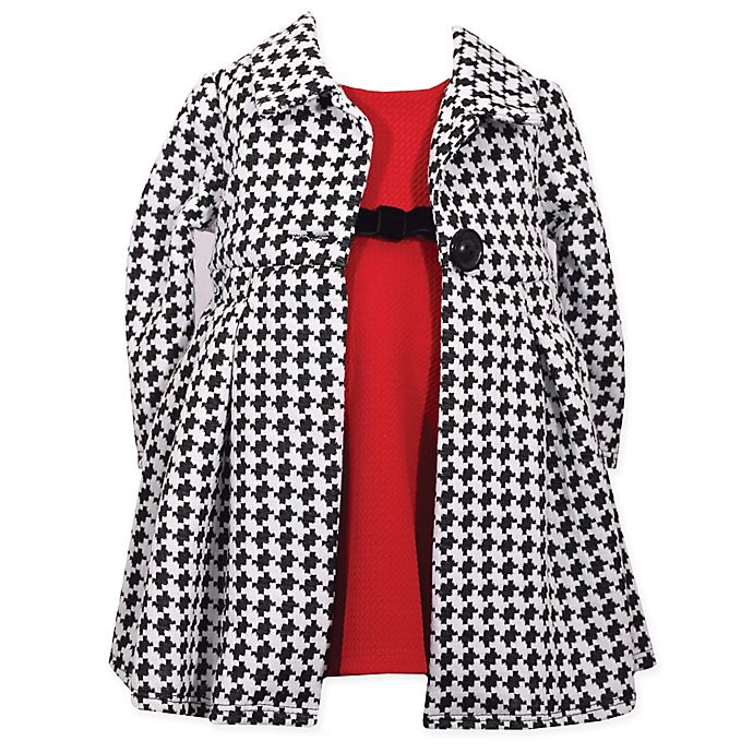Bonnie Baby Red Dress With Houndstooth Knit Coat Buybuy Baby