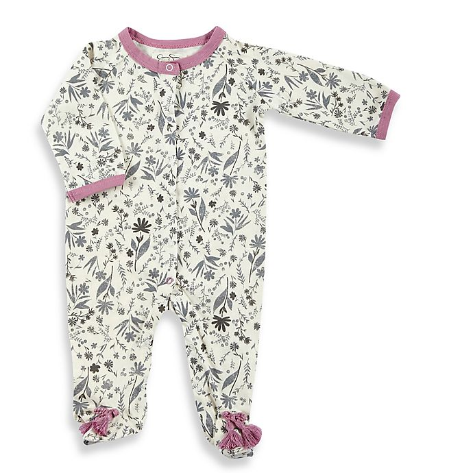 207d57943 Jessica Simpson Floral Footie in White Grey