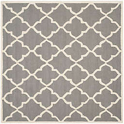 Safavieh Cambridge 6' Square Erica Wool Area Rug in Dark Grey/Ivory