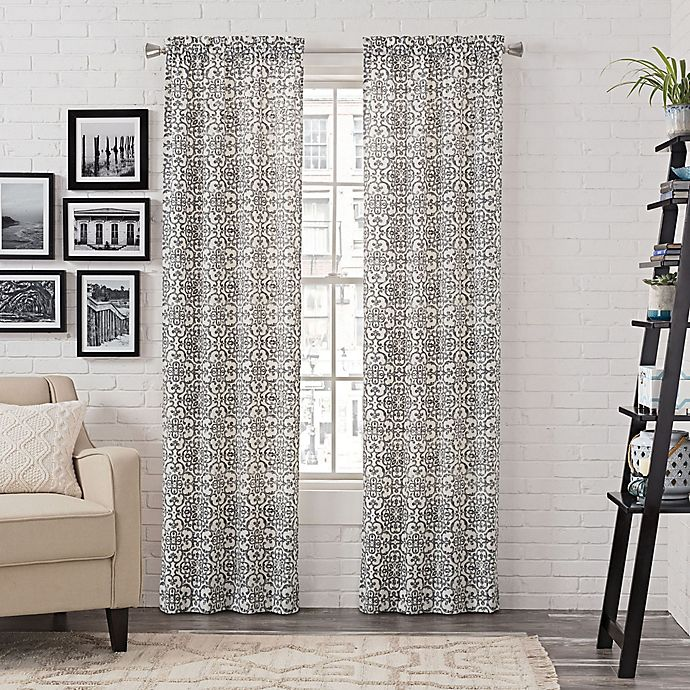 Alternate image 1 for Pairs to Go™ Brockwell 84-Inch Rod Pocket Window Curtain Panel Pair in Charcoal