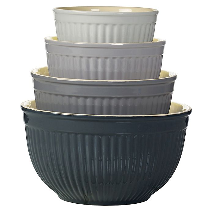 Alternate image 1 for Denmark 4-Piece Ceramic Mixing Bowl Set in Grey