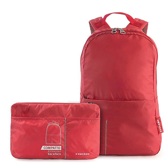 Alternate image 1 for Tucano Compatto Foldable Backpack in Red