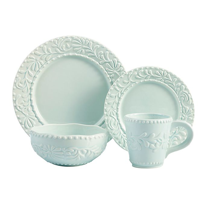 Alternate image 1 for American Atelier Bianca Leaf 16-Piece Dinnerware Set in Blue Mist
