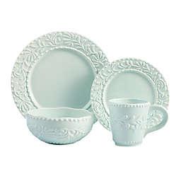 American Atelier Bianca Leaf 16-Piece Dinnerware Set in Blue Mist