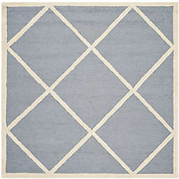 Safavieh Cambridge Zara 4' Square Handcrafted Accent Rug in Silver/Ivory