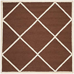 Safavieh Cambridge Zara 6' Square Handcrafted Area Rug in Dark Brown/Ivory