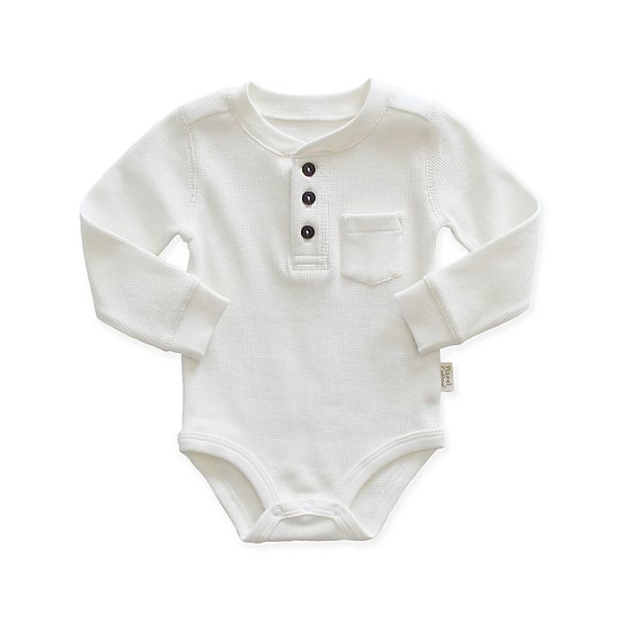 Alternate image 1 for Planet Cotton® Size 12M Thermal Henley Bodysuit in Ivory