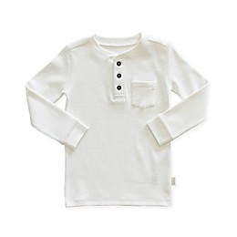 Planet Cotton® Crew Neck Long Sleeve Thermal Henley T-Shirt with Pocket in White