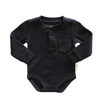Planet Cotton® Thermal Henley Bodysuit in Black