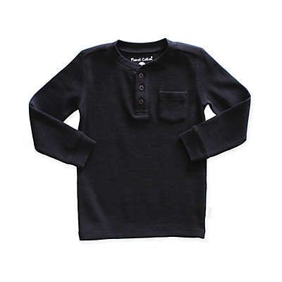 Planet Cotton® Thermal Henley Shirt in Black