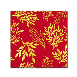 Golden Leaves Canvas Wall Art in Venetian Red