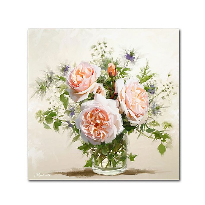 Alternate image 1 for Old Roses 14-Inch Square Canvas Wall Art