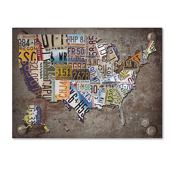 USA License Plate Map Canvas Wall Art | Bed Bath & Beyond