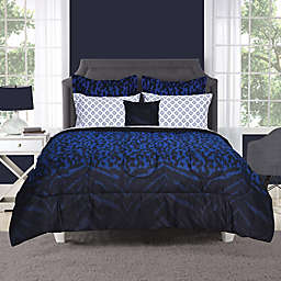 Keira Comforter Set In Black Blue