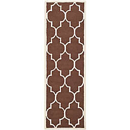 Safavieh Cambridge 2-Foot 6-Inch x 12-Foot Tara Wool Rug in Dark Brown/Ivory
