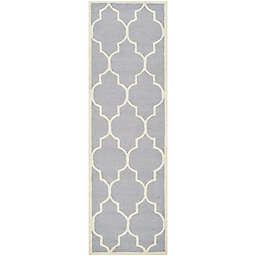 Safavieh Cambridge 2-Foot 6-Inch x 12-Foot Tara Wool Rug in Silver/Ivory