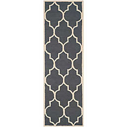 Safavieh Cambridge 2-Foot 6-Inch x 22-Foot Tara Wool Rug in Dark Grey/Ivory
