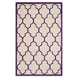 Safavieh Cambridge 5-Foot x 8-Foot Tara Wool Rug in Ivory/Purple