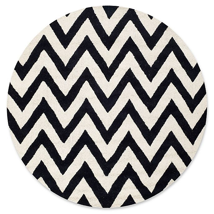 Alternate image 1 for Safavieh Cambridge 8-Foot x 8-Foot Abby Wool Rug in Black/Ivory