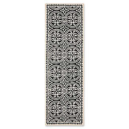 Safavieh Cambridge 2-Foot 6-Inch x 14-Foot Gena Wool Rug in Black/Ivory