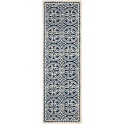 Safavieh Cambridge 2-Foot 6-Inch x 22-Foot Gena Wool Rug in Navy Blue/Ivory