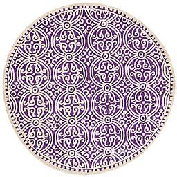 Safavieh Cambridge 8-Foot x 8-Foot Gena Wool Rug in Purple/Ivory