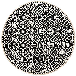 Safavieh Cambridge 8-Foot x 8-Foot Gena Wool Rug in Black/Ivory