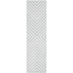 Safavieh Cambridge 2-Foot 6-Inch x 22-Foot Jenn Wool Rug in Light Blue/Ivory