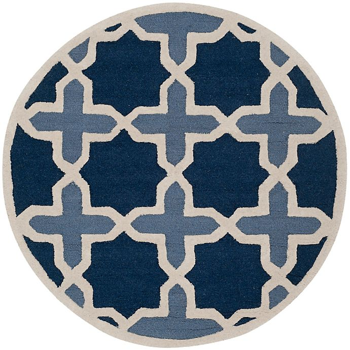 Alternate image 1 for Safavieh Cambridge 4-Foot x 4-Foot Dana Wool Rug in Blue/Ivory