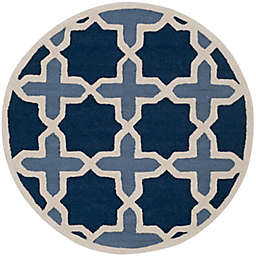 Safavieh Cambridge 8-Foot x 8-Foot Dana Wool Rug in Blue/Ivory