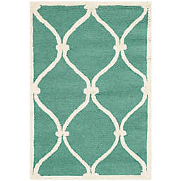 Safavieh Cambridge 2-Foot x 3-Foot Emma Wool Rug in Teal/Ivory