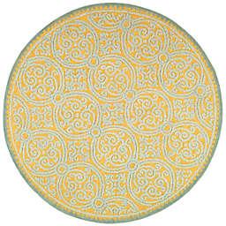 Safavieh Cambridge 8-Foot x 8-Foot Lindsey Wool Rug in Blue/Gold