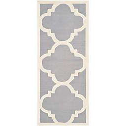 Safavieh Cambridge 2-Foot 6-Inch x 14-Foot Lynn Wool Rug in Silver/Ivory