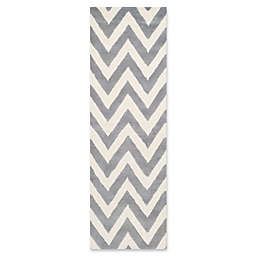 Safavieh Cambridge 2-Foot 6-Inch x 22-Foot Abby Wool Rug in Silver/Ivory
