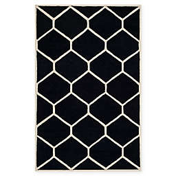 Safavieh Cambridge 5-Foot x 8-Foot Jayme Wool Rug in Black/Ivory