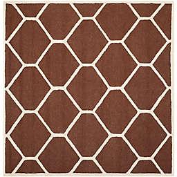 Safavieh Cambridge 8-Foot x 8-Foot Jayme Wool Rug in Dark Brown/Ivory