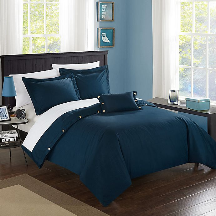 Alternate image 1 for Chic Home Odin Combed Cotton Queen Duvet Cover Set in Navy