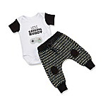 """Baby Aspen Size 0-6M 2-Piece """"Little Gaming Buddy"""" Bodysuit and Pant Set in Black"""