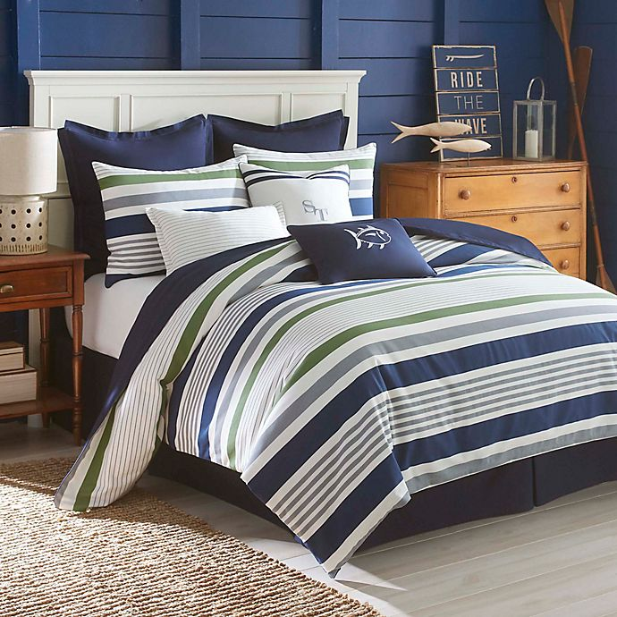 Alternate image 1 for Southern Tide® Sullivan Stripe Queen Comforter Set in Blue