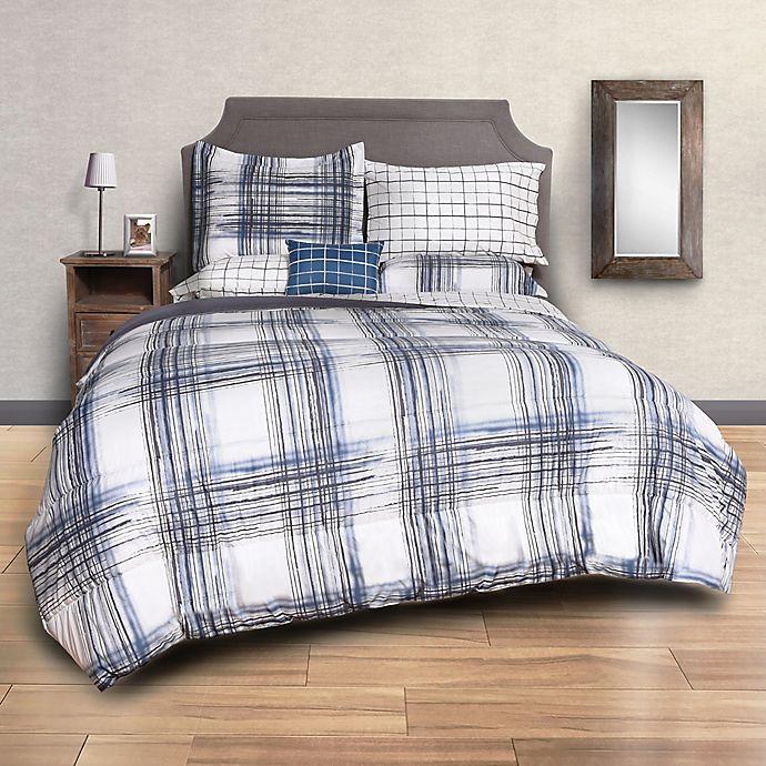 Alternate image 1 for Sydney Plaid 8-Piece King Comforter Set in Black/Blue
