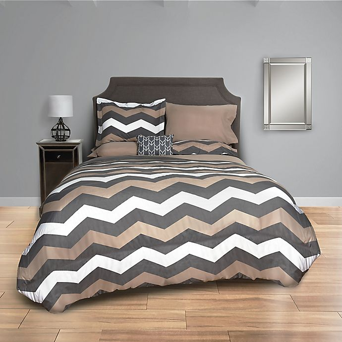 Taupe Chevron Comforter Set In Taupe Grey Bed Bath Amp Beyond