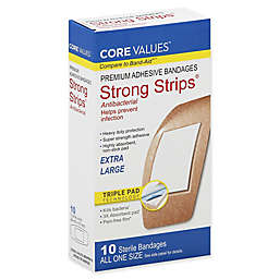 Core Values™ 10-Count Strong Strips Extra Large Antibacterial Adhesive Bandages