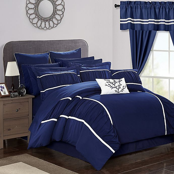 Alternate image 1 for Chic Home 24-Piece King Comforter Set in Navy