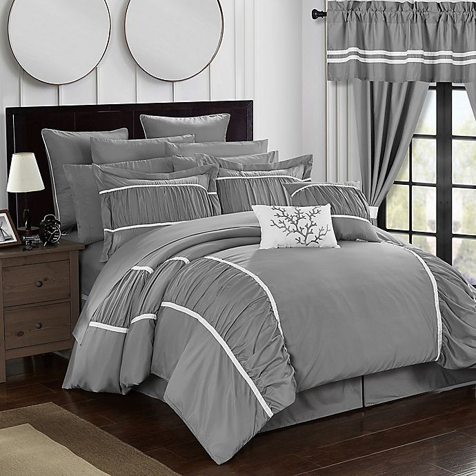 Alternate image 1 for Chic Home 24-Piece Queen Comforter Set in Grey