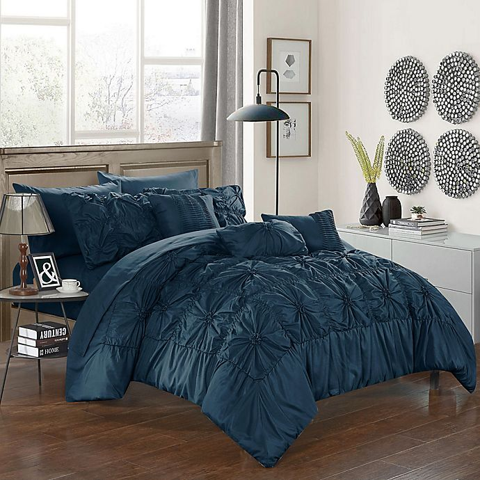 Alternate image 1 for Chic Home Sheffield 10-Piece King Comforter Set in Navy
