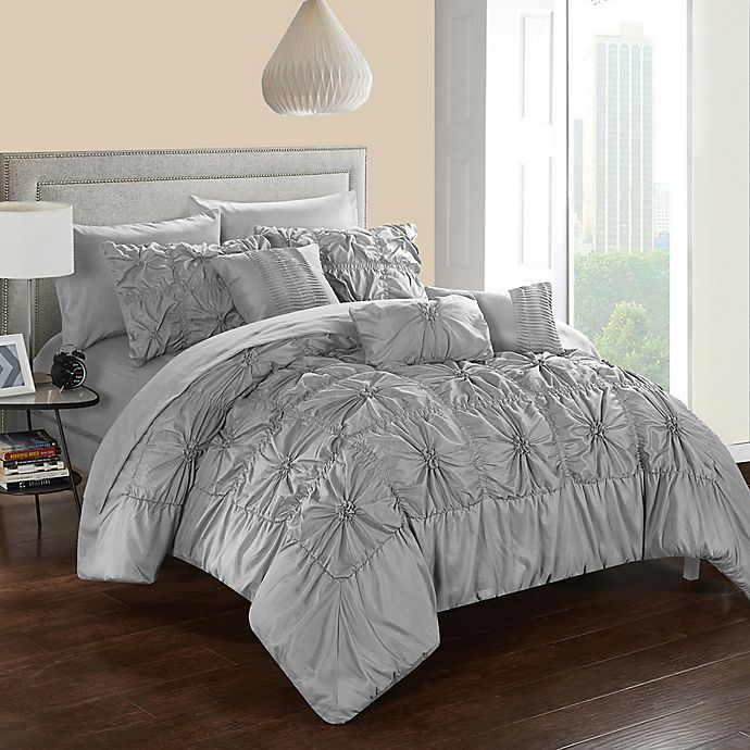 Alternate image 1 for Chic Home Sheffield 10-Piece Queen Comforter Set in Grey