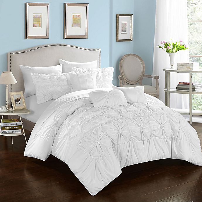 Alternate image 1 for Chic Home Sheffield 10-Piece Queen Comforter Set in White