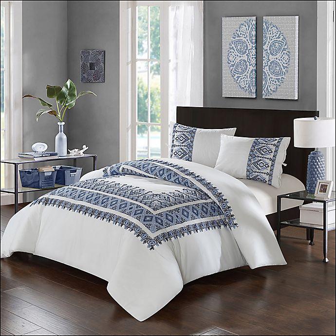 Alternate image 1 for Chic Home Birch Garden King Comforter Set in Navy/White